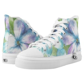 Watercolor painted lilac hightops printed shoes