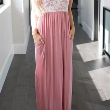 White Lace Top Pink Sleeveless Pockets Maxi Dress