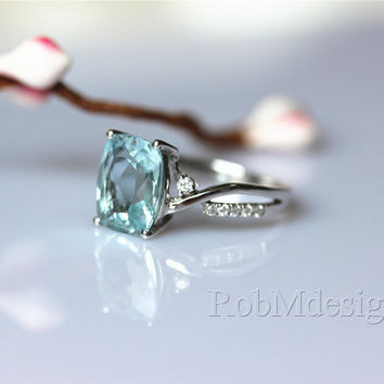 8*10mm VS Aquamarine Ring H/SI Diamond 14K White Gold Ring Aquamarine Wedding Ring Engagement Ring Blue Gemstone Ring