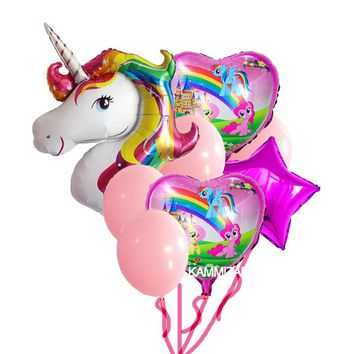 8pcs/set Anagram Rainbow Unicorn helium Foil Balloons round latex balls for wedding party supplies birthday globos decoration