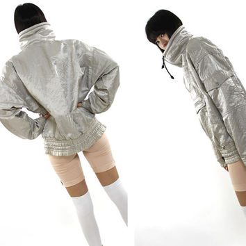 vtg 90s silver iridescent futuristic quilted  goth cyber club kids  oversized turtleneck windbreaker jacket unisex S M L