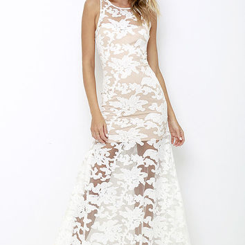 Paradise Luxe Ivory Lace Maxi Dress