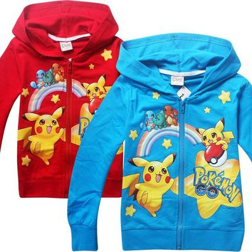 2018 Spring summer kids new cartoon  go Hoodie pikachu children Long sleeved cotton sport sweater Costumes for boys girlKawaii Pokemon go  AT_89_9