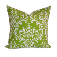 Damask Lime Green Pillow Cover - SAME Fabric BOTH SIDES - Invisible Zipper