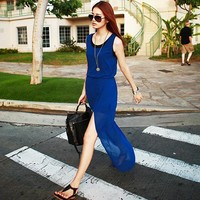 Bqueen Blue Drees with Split TD022L - Designer Shoes|Bqueenshoes.com