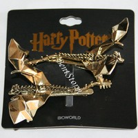 Licensed cool Harry Potter Deathly Hallows 3D Hungarian Horntail Dragon Metal Hair Clip 2 Set