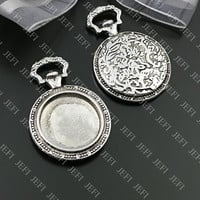 6 Pendant trays- Antique Silver Tone Pocket Watch W/ 20mm Round Bezel Cup Cabochon/ Cameo Mountings- 43.2g