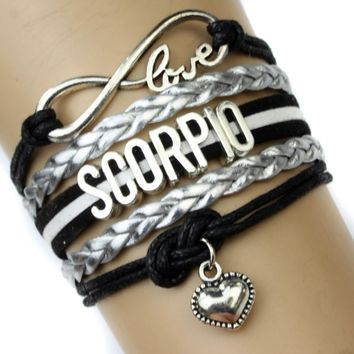 Infinity Love Scorpio Heart Charm Bracelet Twelve Constellations The Signs of the Zodiac Bracelet Black Silver