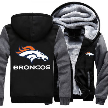 Denver Broncos NFL Football Jacket Thicken Hoodie
