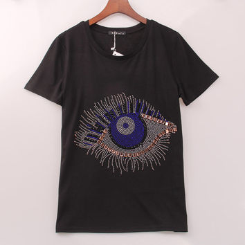 2016 fashion brand t shirt women Eye beaded printing t-shirt short sleeve summer casual women tees tops woman clothing