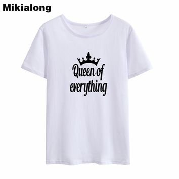 Mrs win QUEEN OF EVERYTHING Crown Graphic Tees Women Tumblr Loose Korean T Shirt Women Pure Cotton Ulzzang Camisetas Mujer