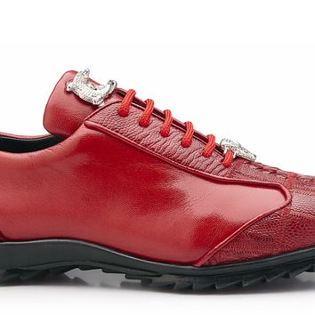 "Belvedere ""Paulo"" Genuine Ostrich And Calf Skin Sneaker"