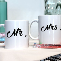 Mr and Mrs - bff gift - couples gift - Ceramic coffee mug - funny sayings