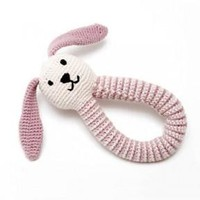 Organic Bunny Fair Trade Knitted Baby Rattle - Pink