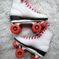 Vintage White Leather Roller Derby Skates Sz 6