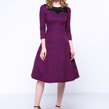 Casual Polka Dot Captivating Round Neck Skater Dress