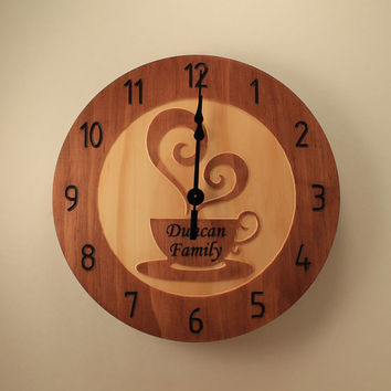 10.5 inch Pine Custom Coffee cup clock Personalized Teacup clock Wood clock Wall clock Wooden wall clock Home clock Kitchen decor Family