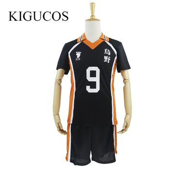 KIGUCOS 9 Styles Hot Anime Karasuno High School Cosplay Costumes Haikyuu!! Outfit Jerseys Shirts and Pants Uniform