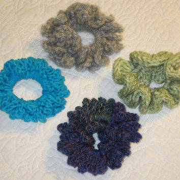 Crochet Hair Scrunchie in Various Colors Grey,Green,Turquoise and Multi (Purple and Blue)