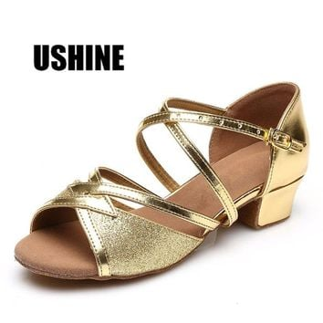 USHINE 206 Square Heel Gold Dancing Shoes For Women Kids Salsa Dance Shoes