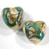 Shiny Dark Ivory Handmade Lampwork Glass Heart Beads Gaia Trails hb101