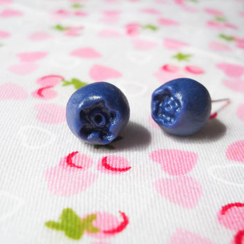 Blueberry Post Earrings, Blueberry Stud Earrings, Blueberry Posts, Blueberry Studs, Blueberry Earrings, Cute Earrings, Summer Earrings