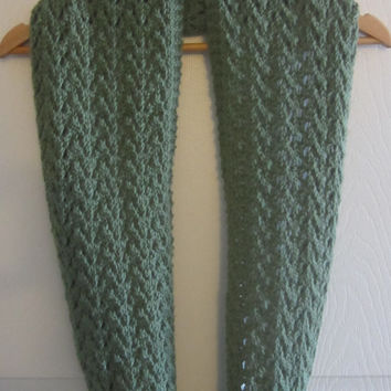 Lace Knit Scarf - Forest Green Scarf - Acrylic Knit Scarf - Made in Canada - Knit Infinity Scarf - Knitted Loop Scarf - Circle Scarf - Warm