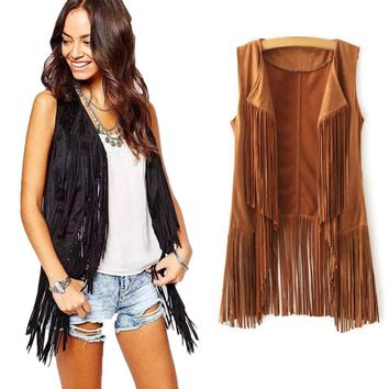 Giraffita Women Autumn Spring Vest Long Tussals Waistcoat Faux Suede Ethnic Sleeveless Tassels Fringed Vest Cardigan