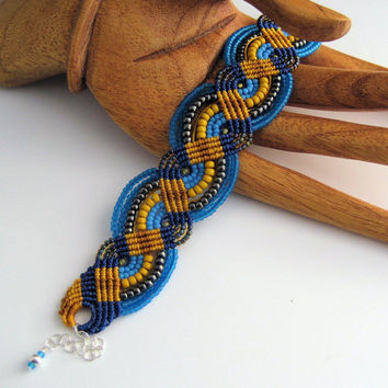 Mustard and Blues Beaded Macrame Bracelet Navy