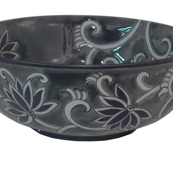 "16"" Floral Bowl, Gray, Decorative Bowls & Centerpieces"