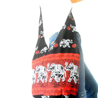Shoulder Bag Cross Body Bag Handmade Bag Elephant Bag Hobo Crossbody Bag Hippie Boho bohemian bag Purse Gift / Red Black Color Sling bag
