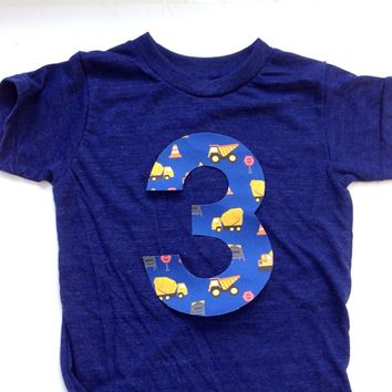 Blue yellow Construction truck 1 2 3 4 5 Birthday Shirt indigo blue short sleeve blue yellow for 3 year old dumptrucks dump digger loader