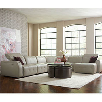 Novara Leather Sectional Living Room Furniture Collection, Power Reclining - Living Room Furniture - furniture - Macy's