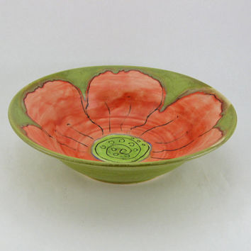 Handmade Green Ceramic Serving Bowl Hand Painted Red Floral Home Decor Table and Serving Wedding Anniversary Home Chef Kitchen Art Pottery