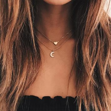 KISSWIFE Double Layer Gold Chain Love Heart Necklace For Women Crystal Moon Chocker colar Necklaces Pendants Women's Necklace