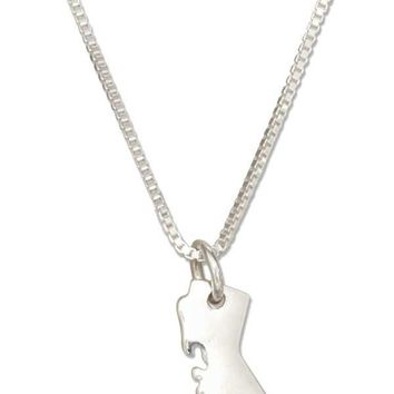 "Sterling Silver 18"" Silhouette California State Pendant Necklace With Heart Cutout"