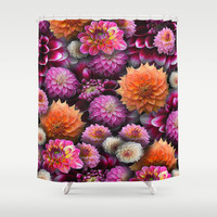 Pink Dahlia Collage Shower Curtain by Blooming Vine Design
