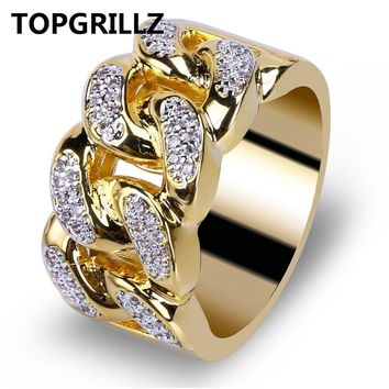 TOPGRILLZ Hip Hop Ring Rock Bling Jewelry All Iced out Micro Pave Cubic Zirconia Cuban Chain Ring