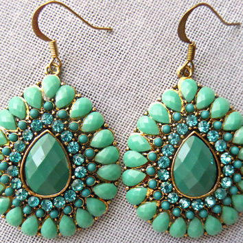 Mint Statement Earrings Green Teardrop Earring Boho Jewelry