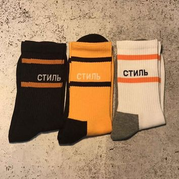 Heron Preston socks Ctnnb 18SS HP men women long socks kanye west hip hop streetwear harajuku fear of god popsoket happy socks