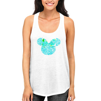 Minnie Mouse Tank Top with Glitter and Lilly Pulitzer Bow