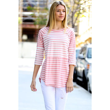 Pink & Ivory Striped Tunic