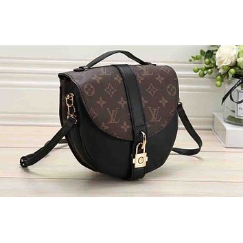 LV Fashion Lady's Colour-matched Full-print Single Shoulder Pack Black + coffee