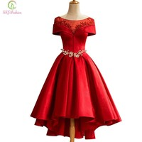 Fashion New Luxury Red Satin Evening Dress The Bride Married Boat Neck Crystal Beading Tea-length Party Formal Gown