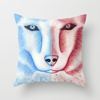 Morvita - Wolf/Husky Throw Pillow by Susaleena