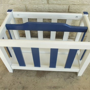 Nautical Navy Blue White Furniture Rack Boys Room Magazine Toys Books Shoes Entryway Wood Anchor Pirate Hand Painted Modern Mid Century
