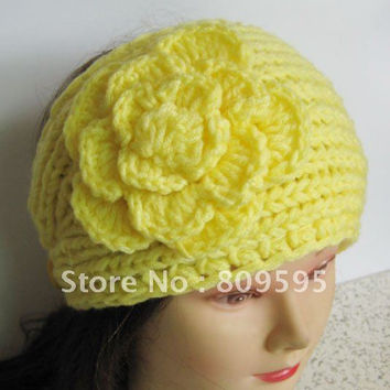 Ear warmer Winter Flower Crochet Knit Headwrap Headband