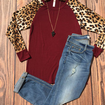 Burgundy and Leopard Long Sleeve Top (S-3XL)