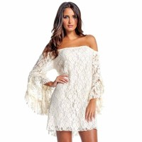 Off-White Lace Long Bell Sleeve Off Shoulder Dress Size Small