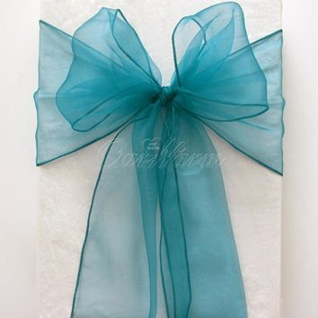 25Pcs/lot Wedding Chair Sashes Multicolors Organza Chair Sashes Bow for Christmas Chair Decoration Party Supplies Home Textile